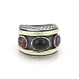 David Yurman Garnet & Onyx 14k Yellow Gold Sterling Cable Dome Band Ring
