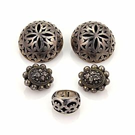 John Hardy Vintage 2 Pair Earrings & Ring Lot in Sterling Silver