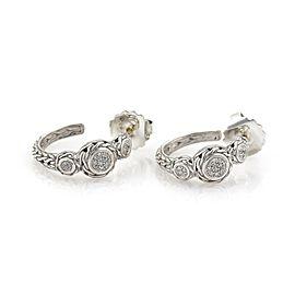 John Hardy Diamond Sterling Silver Wheat Design Hoop Earrings