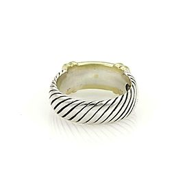David Yurman Diamond Sterling Silver 14k Yellow Gold Cable Band Ring Size 6