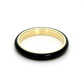Bvlgari Bulgari Vintage 18k Yellow Gold Onyx 3mm Band Ring Size 5.75