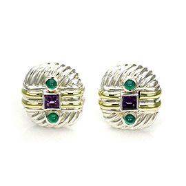 David Yurman Amethyst Emerald Sterling 14k Gold Cable Post Clip Earrings
