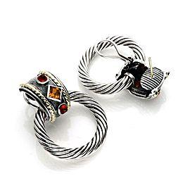 David Yurman Tourmaline Sterling 14k Gold Door Knocker Cable Earrings