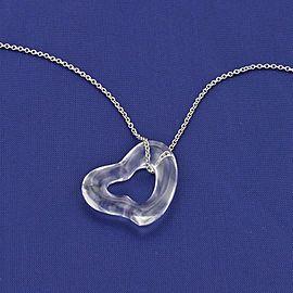 Tiffany & Co. Elsa Peretti Platinum Chain & Quartz Heart Pendant Necklace