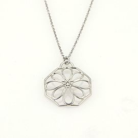 Tiffany & Co. Italy 18K White Gold Fancy Diamond Flower Pendant Necklace