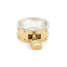 Hermes Sterling 18k Yellow Gold Padlock Drop Charm Band Ring Size 52-US 6