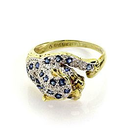 Estate Sapphire & Diamond 14k Yellow Gold Panther Ring Size 6.5