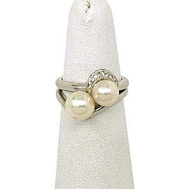Estate Platinum Diamond 7.8mm Pearls Double Stack Ladies Ring