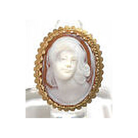Vintage 14k Yellow Gold Shell Cameo High Relief Carved Lady's Head Oval Ring