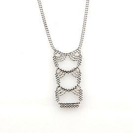 Tiffany & Co. 18k White Gold Fancy Drop Pendant Double Strand Bead Necklace
