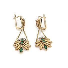 Vintage Diamond Green Onyx 14k Yellow Gold Floral Drop Dangle Earrings