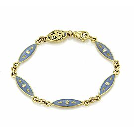 Faberge Germany Diamond & Enamel 18k Yellow Gold Marquise Link Bracelet