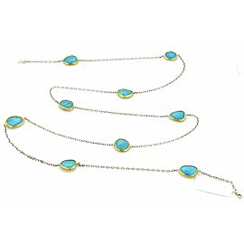 Gurhan Organic Elements Turquoise Sterling & 24k Layered Gold Necklace