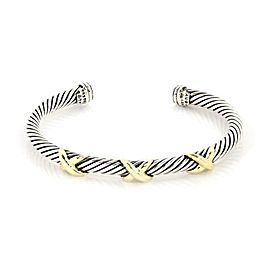 David Yurman 925 Silver 14k Yellow Gold Triple X Cable Cuff Bracelet