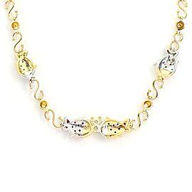 Italian Diamond & Gems 18k Two Tone Gold Fish Fancy Link Necklace