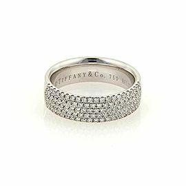 Tiffany & Co. Metro Five Row Diamond 18k White Gold Band Ring Size 7