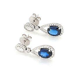 Classic 5.34ct Diamond Sapphire 18k White Gold Pear Shape Dangle Earrings