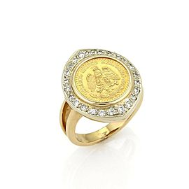 Vintage Diamond Dos Pesos Mexican Gold Coin 14k Yellow Gold Ring