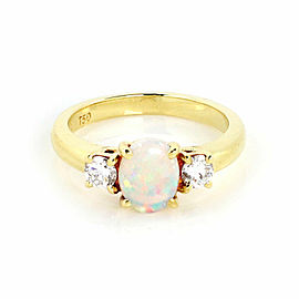 Tiffany & Co. Fire Opal Diamond 18k Yellow Gold Cocktail Ring Size 5.5