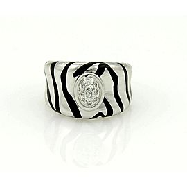 H. Stern Diamonds & Enamel Striped Design 18k White Gold Band Ring