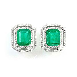 15.50ct Emerald & Diamond 18k WGold Octogan Post Clip Huggie Earrings
