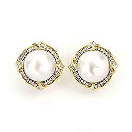 Estate 2.00ct Diamond 20.5mm Mabe Pearl 14k Gold Post Clip Huggie Earrings