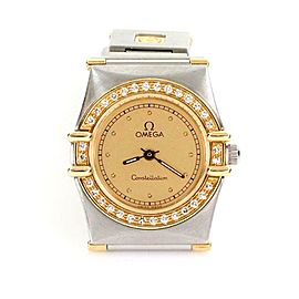 Omega Constellation Diamond 18k Gold Stainless Steel Ladies Wrist Watch