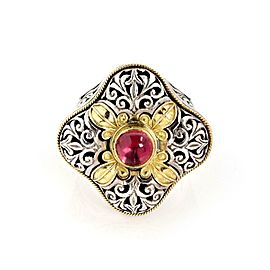 Konstantino Pink Tourmaline 18k Gold 925 Silver Filigree Floral Top Ring