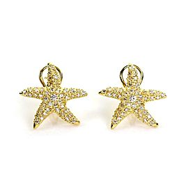 Classic 1.50ct Diamond 18k Yellow Gold Star Fish Post Clip Earrings