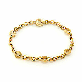 Bulgari 18k Yellow Gold 6 Engraved Circle Link Chain Bracelet