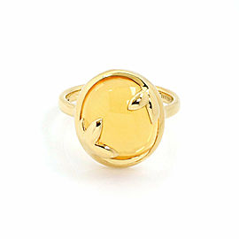 Tiffany & Co. Picasso Olive Leaf Citrine 18k Yellow Gold Oval Top Ring - Size 6