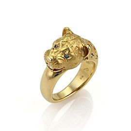 White & Enhanced Blue Diamond Panther Head 18k Yellow Gold Ring