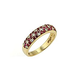 LeVian Diamond & Ruby 18k Yellow Gold Dome Band Ring