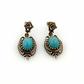 Vintage Oval Turquoise Dangle 14k Yellow Gold Earrings
