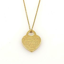 Tiffany & Co. Notes 727 5th Ave NY Heart Tag 18k Yellow Gold Pendant