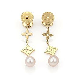 Louis Vuitton Pearl Monogram 18k Yellow Gold Drop Dangle Earrings