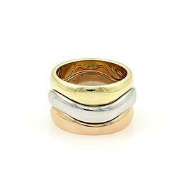 Cartier 18k Tricolor Gold Triple Wave Design Stack Band Ring Size 47-US 4