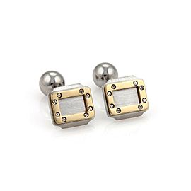 Cartier Santos Steel & 18k Gold Rectangular Shape Bar Bell Stud Cufflinks