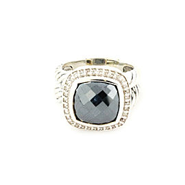 David Yurman Albion Diamonds & Hematite Sterling Cable Ring - Size 6
