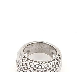 Cartier Diamond 18k White Gold Spider Web Wide Dome Band Ring Size 50-US 5