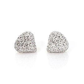 Chopard 2.00ct Diamond 18k White Gold Triangle Heart Dome Stud Earrings