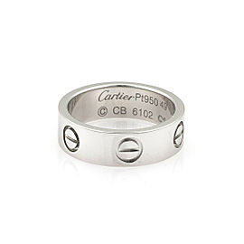 Cartier Love Platinum 5.5mm Wide Band Ring Size 49 US 5 w/Certificate