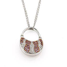 Movado 1.45ct Diamond & Sapphire 18k White Gold Purse Pendant Necklace