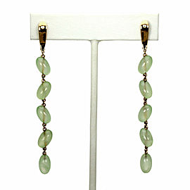 Valente 30.1 Carats Peridot Diamond 18k Pink Gold Beaded Long Dangle Earrings