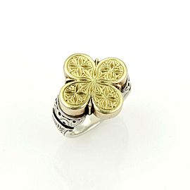 Gerochristo Vintage 18k Yellow Gold & Sterling Silver Engraved Floral Top Ring