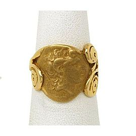 Art Nouveau Dimensional Cameo Ring in 14k Yellow Gold