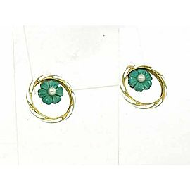 Vintage 14k Yellow Gold Enamel & Pearls fancy Floral Circle Earrings