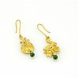 Vintage Jade 24k Gold Carved Dragon & Pheonix Hook Dangle Earrings