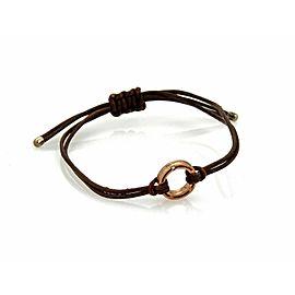 Damiani Diamond 9k Rose Gold Ring Charm Cord Bracelet