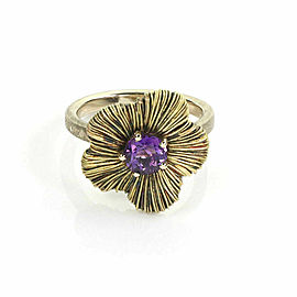 Pasquale Bruni Penelope Amethyst 18k Yellow Gold Flower Ring Size 7.5